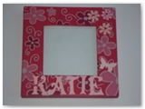 Personalised frame with flowers and butterflies. Email for options available and price